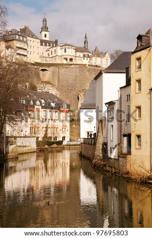 View from above on Grund and Alzette river, Luxembourg city
