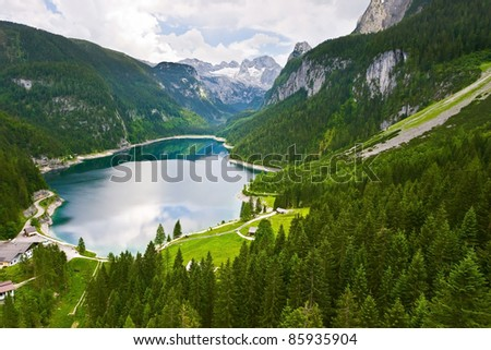 View from above on the lake. Gosausee. Austria.