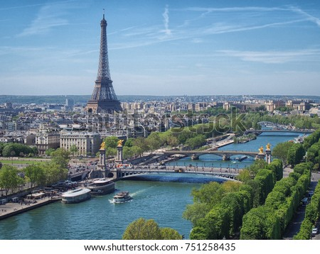 View from above on the Seine river (Paris) with the Eiffel tower on the horizon Stock photo ©
