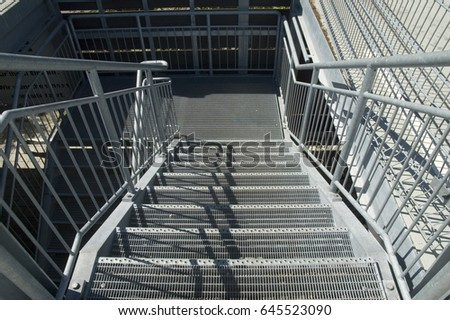 View From Above To Steps And Railings Of Metal Stairs/metal Stair/outdoor  Stairway