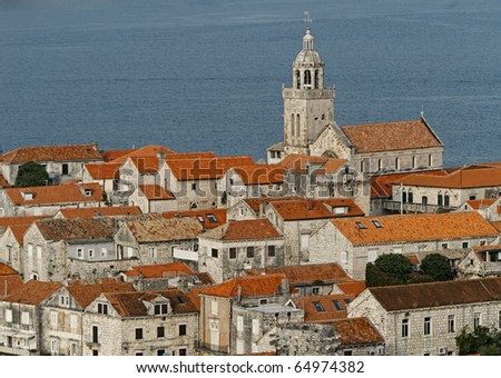 View from above to the ancient Korcula town in Croatia