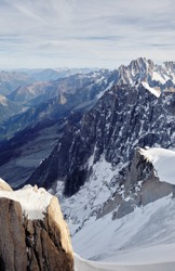 View from Aiguille du Midi mountain 3843 meters to the Alps. Mountain landscape. Europe, France.