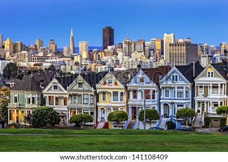 View from Alamo Square at twilight, San Francisco.