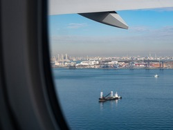 View from an aeroplane window as it prepares for take off