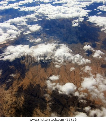 View from an airplane over Mexico