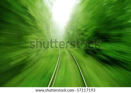 View from an express train on high speed