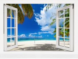 view from an open window to a tropical landscape. Beach sand sea palm trees