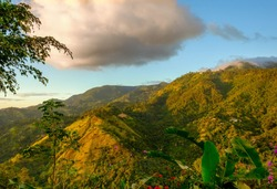 View from and of The Blue Mountains at sunset, Jamaica