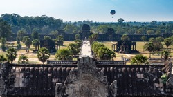 View from Angkor Wat temple for whole Angkor complex situated in jungle, Angkor, Siem Reap, Cambodia