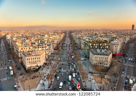 View from Arc de triomphe of Champs elysees, Paris.