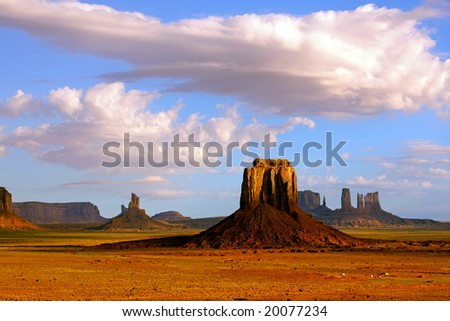 View from Artist's Point and East Mitten Butte at Monument Valley Navajo Tribal Park.