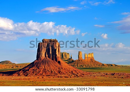 View from Artist's Point of East Mitten Butte and rock formations of Monument Valley on the border of Arizona and Utah.