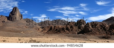 view from asskrem into  the hoggar algeria sahara