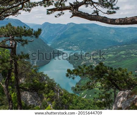 View from Banjska rock on Drina river and Perucac lake,  Tara nationa park in Serbia Stock photo ©