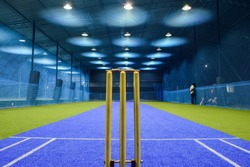 view from behind the wicket of an indoor cricket stadium