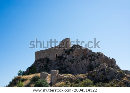 View from below of Las Rojas Castle, on top of a hill at Poza de la Sal, Merindades, Burgos, Spain, Europe Zdjęcia stock ©