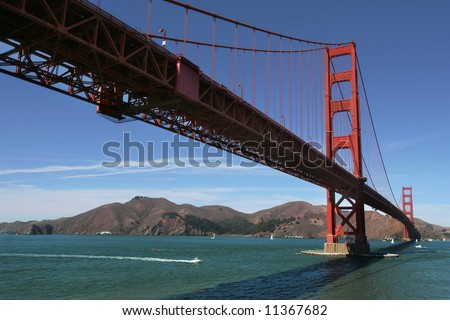 View from below on famous Golden Gate Bridge in San Francisco, USA.