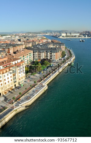 View from bridge of Bizkaia, Portugalete, Bizkaia, Spain