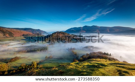 View from Catbells looking towards Skiddaw in The Lake District, Cumbria, England
