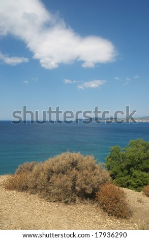 View from coast of Greece island Thassos