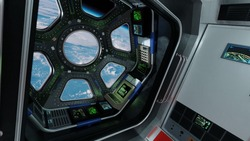 View from Cockpit International Space Station through porthole nearby of planet Earth. Concept of exploration and research, rocket launching.