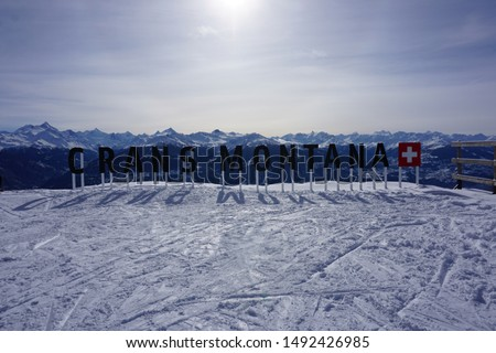 View from Crans-Montana Switzerland January 2019 looking south across the Valais region with Crans-Montana sign on mountain Photo stock ©