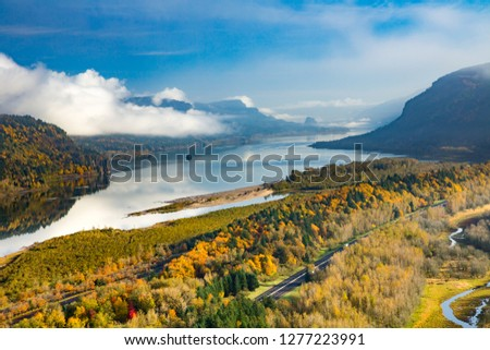View from Crown Point of the Columbia River and the Columbia River Gorge National Scenic Area, Oregon. #1277223991
