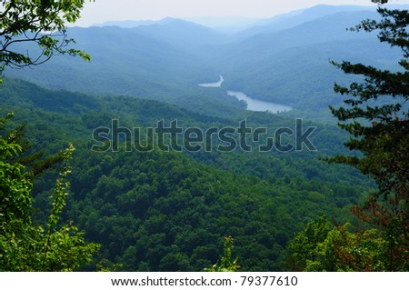 View from Cumberland Gap of Fern Lake Tennessee and the place (foreground ridge) where three states meet: Virginia, Tennessee, and Kentucky