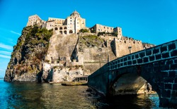View from de bridge of Aragonese Castle at Ischia Island, a little bay of Naple, Italy