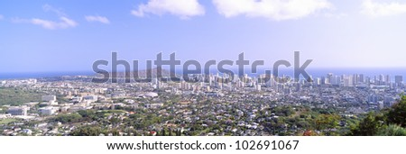 View from Diamond Head Volcano, Honolulu, Hawaii