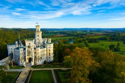 View from drone of medieval castle in Hluboka nad Vltavou, Czech Republic