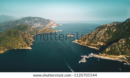 View from drone on marmaris bay with lots of yachts and sailboats #1120705544