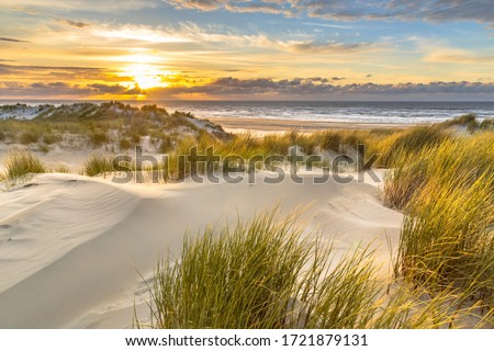 View from dune top over sunset in North Sea from the island of Ameland, Friesland, Netherlands Foto d'archivio ©