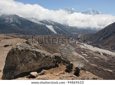 View from Dusa to the village Periche and peaks Kantega (6786 m) and Thamserku (6618 m) - Mt. Everest region, Nepal