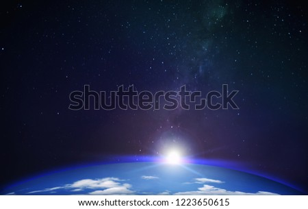 View from Earth Planet with Milky Way Galaxy Background with Stars Space for Astronomy and Science Fantasy Design #1223650615