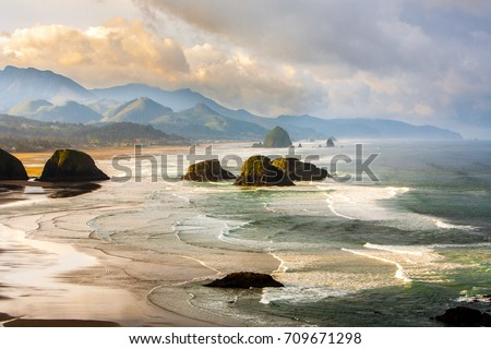 View from Ecola State Park looking south toward Canon Beach and haystack Rock, Oregon coast. #709671298