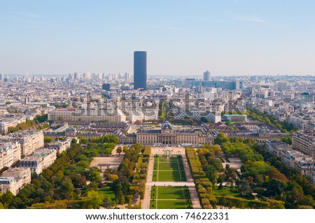view from Eiffel tower on famous Champs de Mars