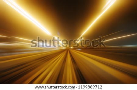 View from first railway carriage. Speed motion blur metro abstract background at night #1199889712