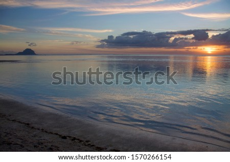View from Flic en Flac Beach to Le Morne Brabant at sunset, Mauritius, Africa