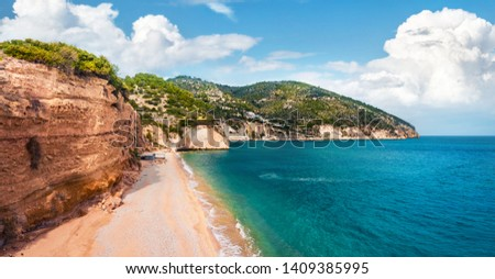 View from flying drone. Attractive summer view of popular tourist destination - Mattinatella beach (Fontana delle Rose). Wonderful seascape of Adriatic seascape, Gargano National Park, Italy, Europe. #1409385995