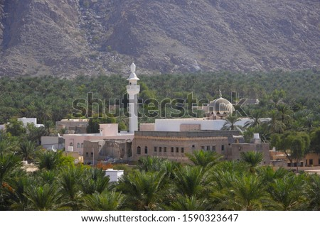 Photo of  View from Fort Bait Naman to palm tree plantation and mosque, Barka, Oman