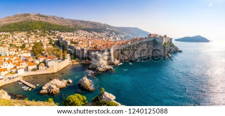 View from Fort Lovrijenac to Dubrovnik Old town in Croatia at sunset light, travel background #1240125088
