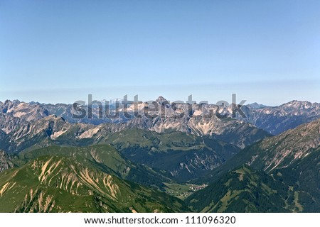 view from germany over the alps towards austria and italy