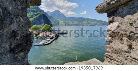 view from ghe Schnitzturm to the Stansstader harbor and lake Imagine de stoc ©