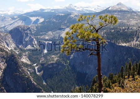 View from Glacier Point Road towards Half Dome and Vernal and Nevada Falls