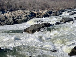 View from Great Falls overlook of the Potomac River. Great Falls National Park, C and O Canal National Historical Park.