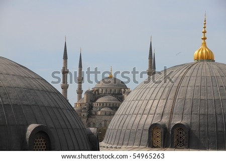 view from Hagia Sofia on over the roofs of the blue mosque in Istanbul Turkey