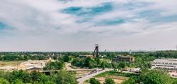 View from Halde Hoheward in Herten to old shaft tower in Recklinghausen, Germany