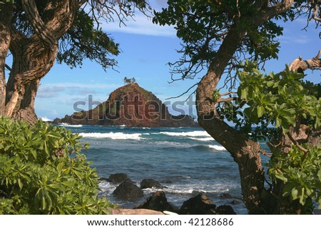 View from Hamoa Beach to Alau island, Maui, Hawaii