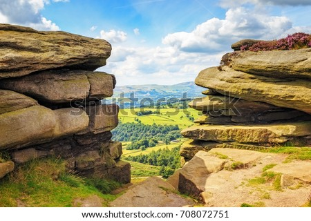 View from Hathersage Moor in Peak District National Park, Derbyshire, England, UK.